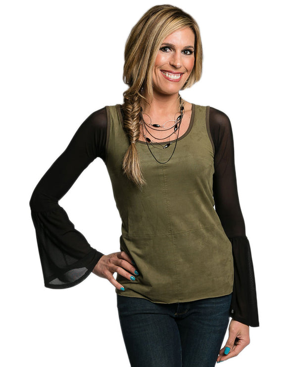 Womens Sleevey Wonders Long Bell Sleeve Mesh