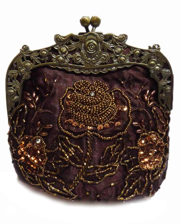 Brown Victorian Style Evening Bag with floral hand beading and detachable gold strap