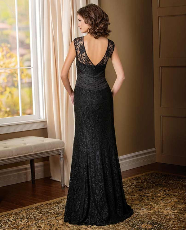 Jade Couture K178010 Lace Cap Sleeves Black mother of the bride gown with slimming waist