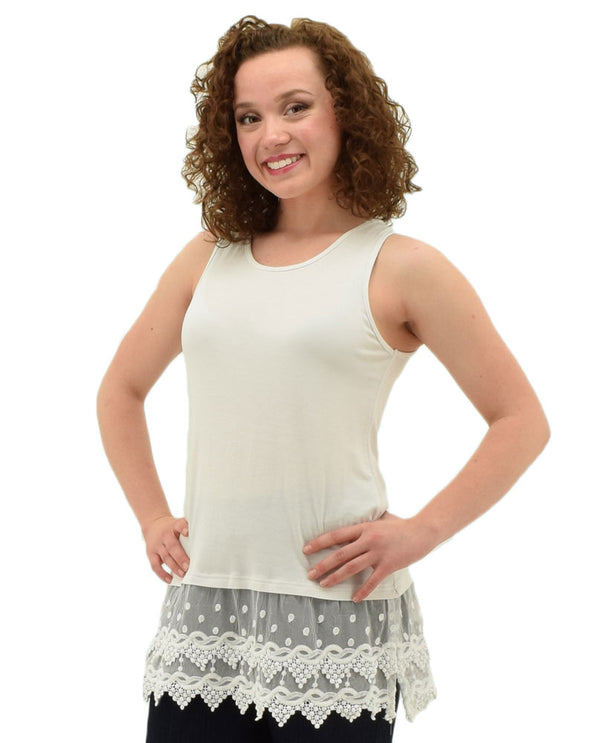 Off white Kaktus 65339 Tank Extender With Lace adds some extra length to your favorite top