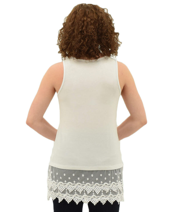 Back of Off white Kaktus 65339 Tank Extender With Lace adds some extra length to your favorite top