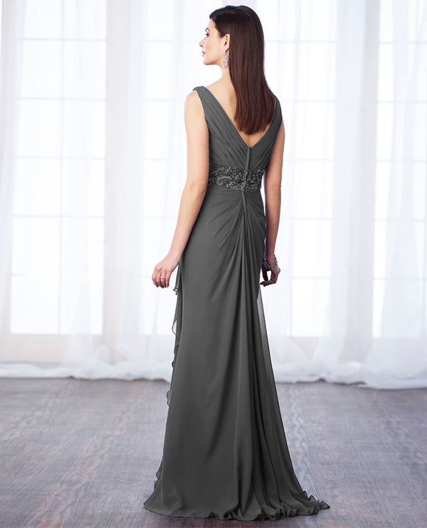 Cameron Blake 217641 Bead Waist Chiffon Dress smoke gray mother of the bride gown