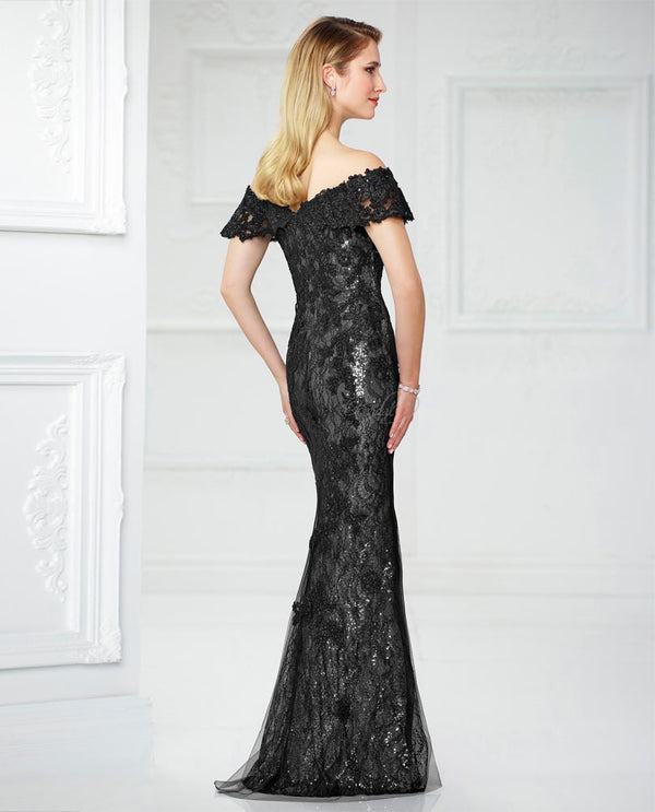 Montage 217941 Off Shoulder Lace Dress black silver lace and sequin mother of the bride dress