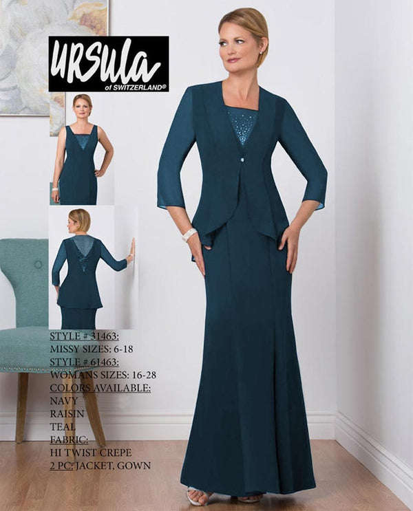 Ursula 31463 Crepe Beaded Jacket Set teal long mother of the bride gown with jacket
