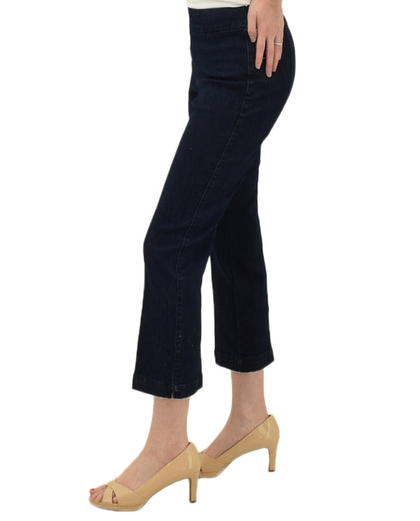 SlimSation 37716PM Flare Leg Crop Pants in denim have a slimming pull on waistband