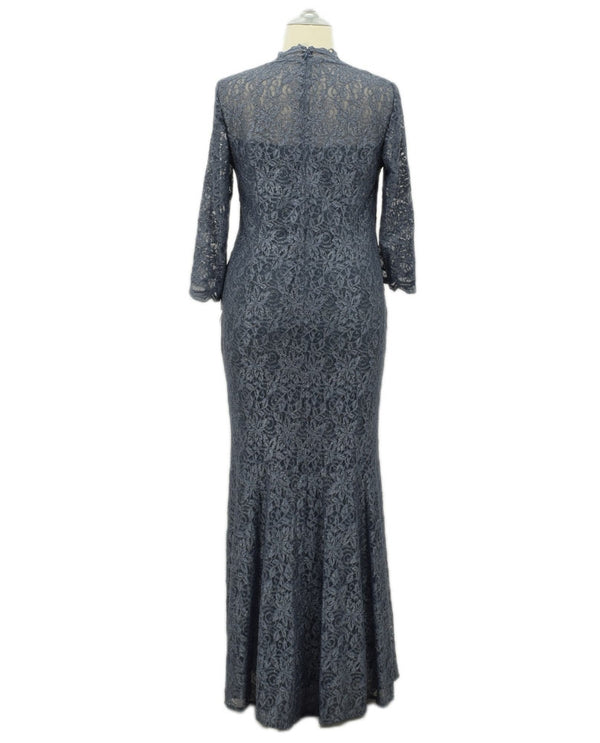 Grey Alex Evenings 4121873 Womens Lace Fit & Flare plus size mother of the bride dress