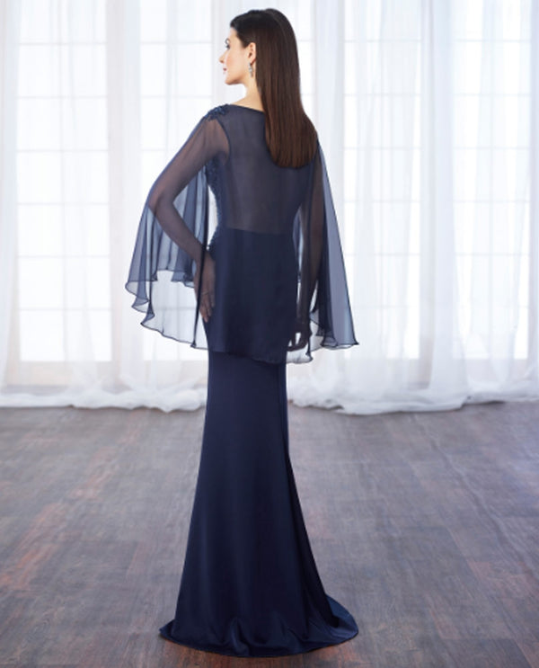 Cameron Blake 217638 Beaded Lace Sweetheart Gown navy mother of the bride gown with cape