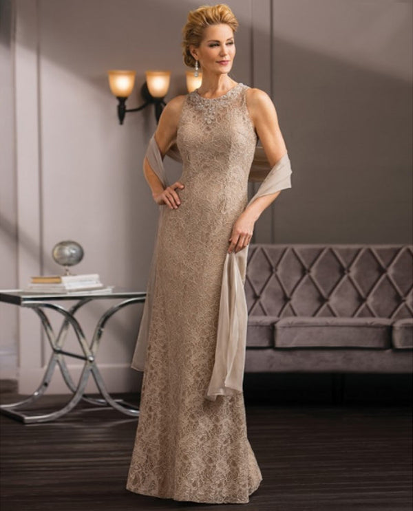 Latte Jade Couture K188058 Petite Bejeweled Lace Dress mother of the bride gown with shawl