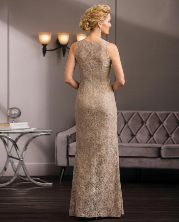 Back of Latte Jade Couture K188058 Petite Bejeweled Lace Dress mother of the bride gown