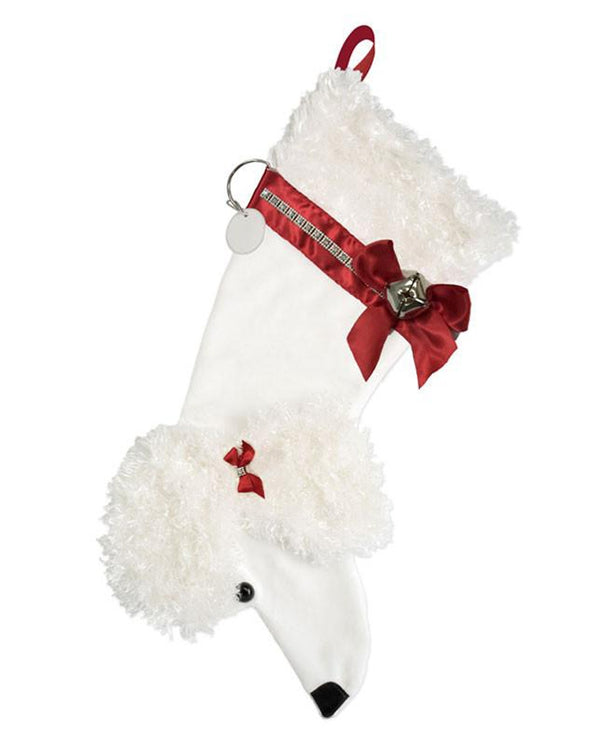 White Poodle Stocking Treat Holder