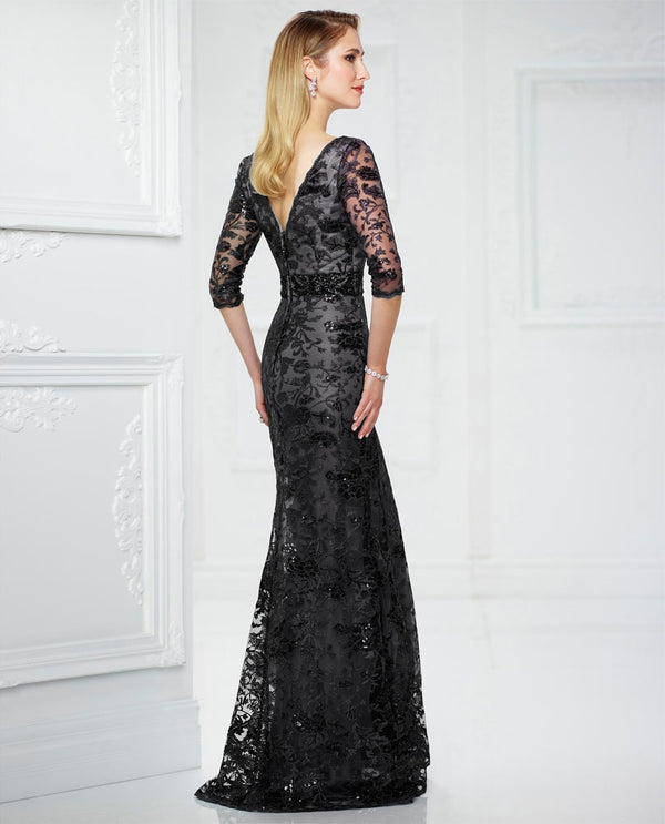 Montage 217932W Womens 3/4 Sleeve Sequin Lace Dress black 3/4 sleeve mother of the bride dress