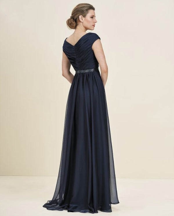 Navy Jade Couture J195056 Full Skirt Dress mother of the bride gown with rhinestone belt