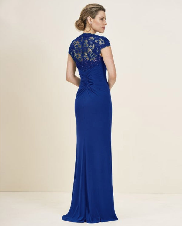 Cobalt Jade Jasmine J195058 Petite Beaded Lace Shoulder Dress