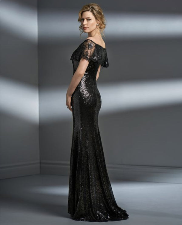 Shadow Jade Couture K198063 Petite Sequin Portrait Dress