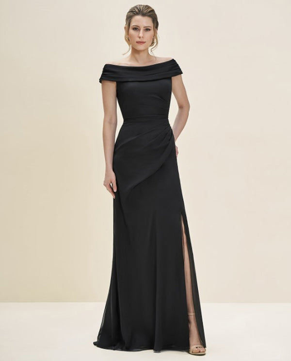 Black Jade Couture J195057 Portrait Neck Dress With Train mother of the bride dress