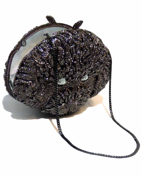 Crystal Dog Evening Bag black evening bag with crystal dog face on the front with chain