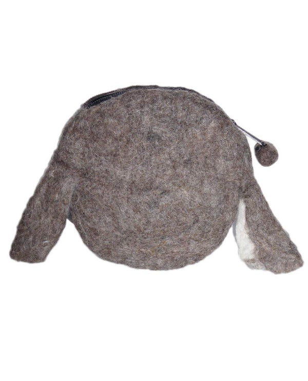 Wool Felt Coin Purse taupe dog coin purse with zipper