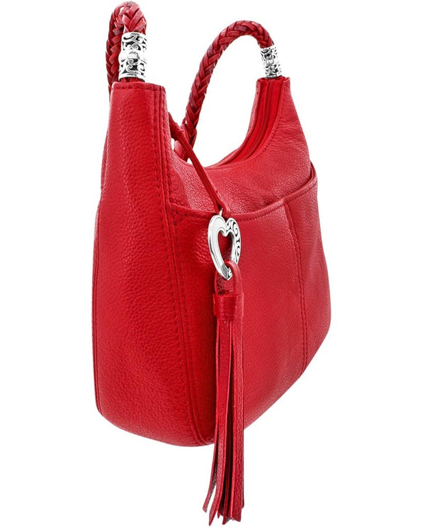 Side of Brighton Style H4292L Lipstick Baby Barbados Crossbody Hobo bag with braided leather straps with heart tassle zipper and silver detail