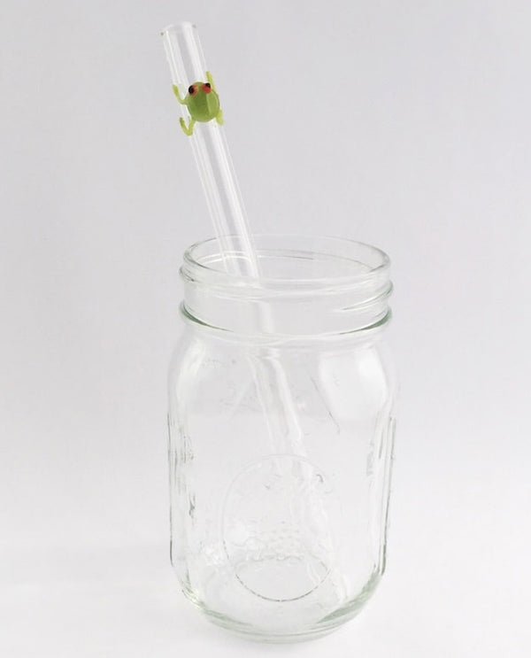 Clear Strawesome Frog Glass Straw straight with cute little frog in a cup