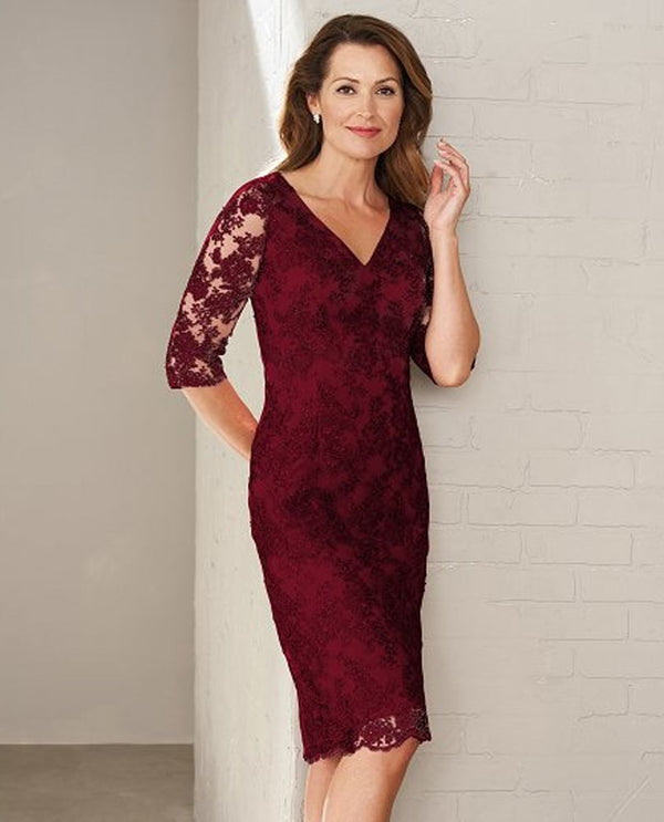 Berry Jasmine M200009 Lace V Neck Dress