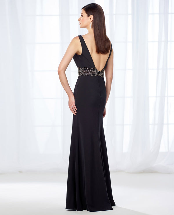 Cameron Blake 118662 Twill Beaded Dress black mother of the bride dress with belt and v-neckline