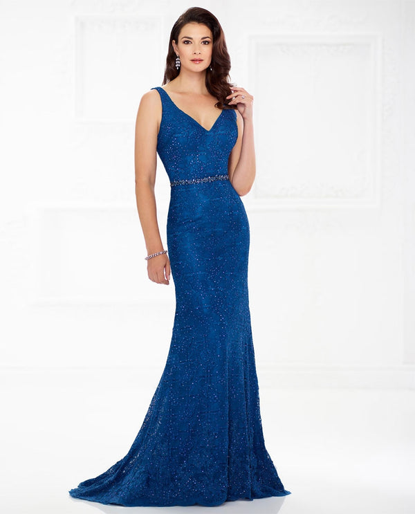 Montage 118983 2 Piece Stoned V Neck Dress peacock blue sparkling mother of the bride gown