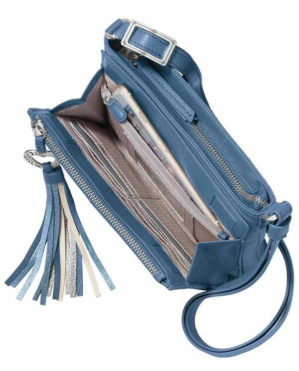 Interior of Barbados City Organizer Brighton T435AB Canyon Blue with heart tassel and leather material with multiple pockets