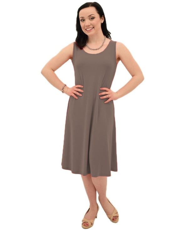 Sympli 2822SG Womens Tank Dress Short Mushroom brown