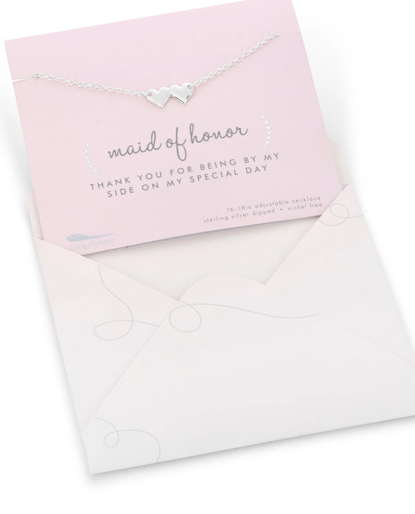 Maid Of Honor Necklace Card Silver