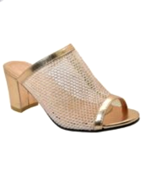 rose/gold Open Toe Pump with wide mesh band and 2.5 inch heel