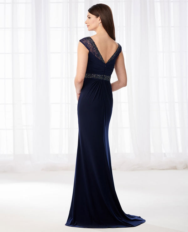 Cameron Blake 218617 Cap Sleeve Beaded Dress jersey navy a-line mother of the bride dress