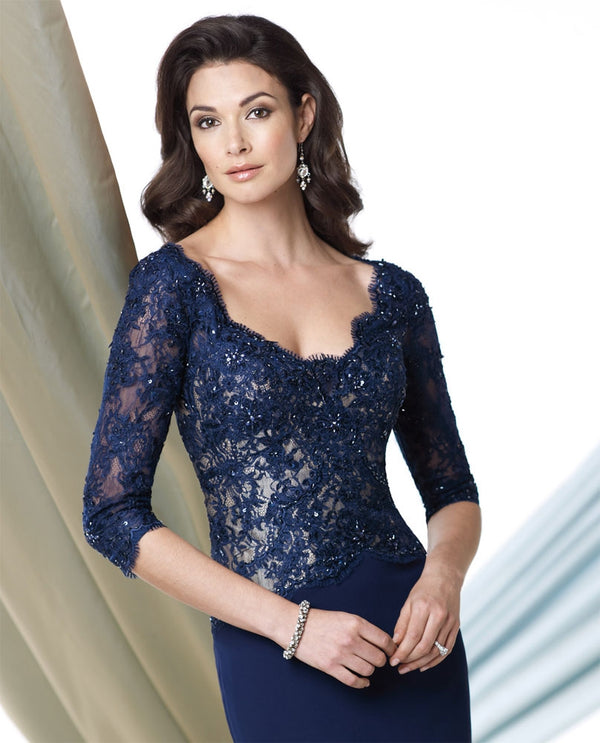 Montage 213978 Lace Top Gown navy 3/4 sleeve sweetheart mother of the bride gown