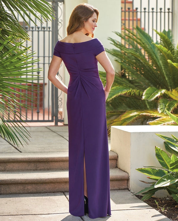 Eggplant Jade Jasmine J205057 Portrait Neck Dress