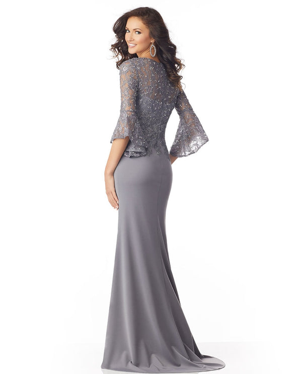 Mori Lee / MGNY 71810 Bell Sleeve Dress silver bell sleeve mother of the bride dress