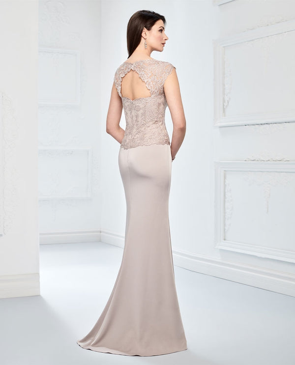 Montage 218915 Beaded Lace Bodice Dress oyster nude mother of the bride gown with sweep train