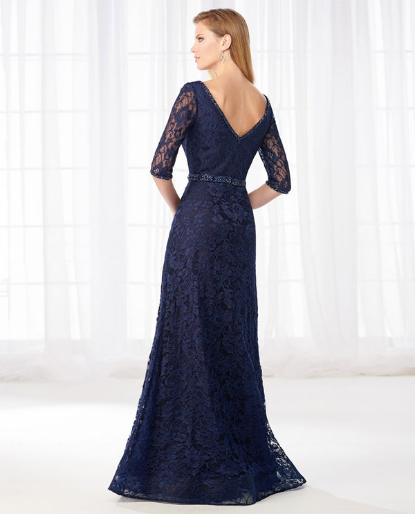 Cameron Blake 218610 3/4 Sleeve Lace Dress navy lace mother of the bride gown with beaded waist