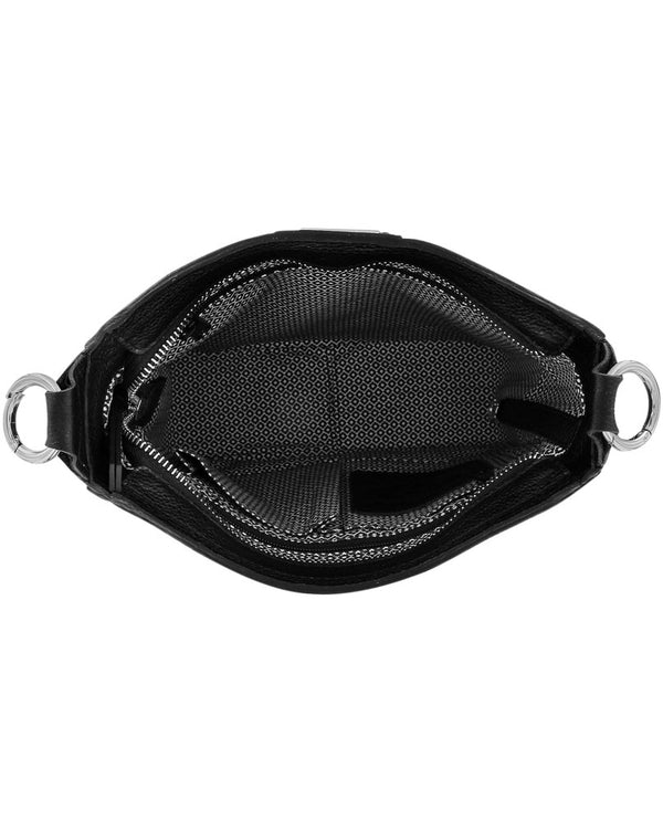 Interior of Brighton H36373 Raine Convertible Shoulderbag in Black with removable dual straps for versatility and studs