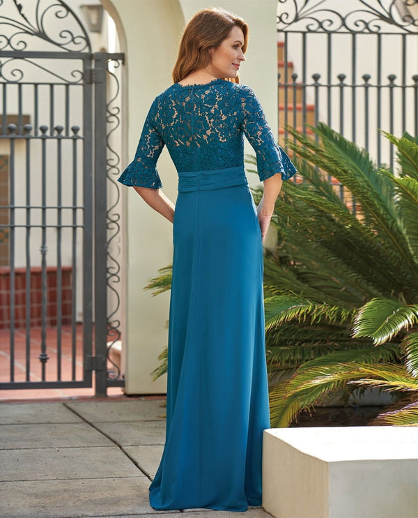 Teal Jade Jasmine J205062 Lace Chiffon Dress