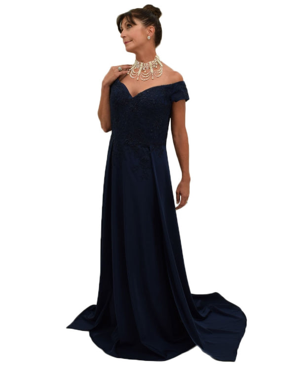 Mori Lee / MGNY 70834 Cap Sleeve Lace Bodice navy mother of the bride dress