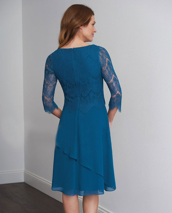Teal Jasmine M200057 Lace Chiffon Dress