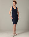 Ursula 41328 Womens Short Lace Dress Set navy plus size short mother of the bride dress