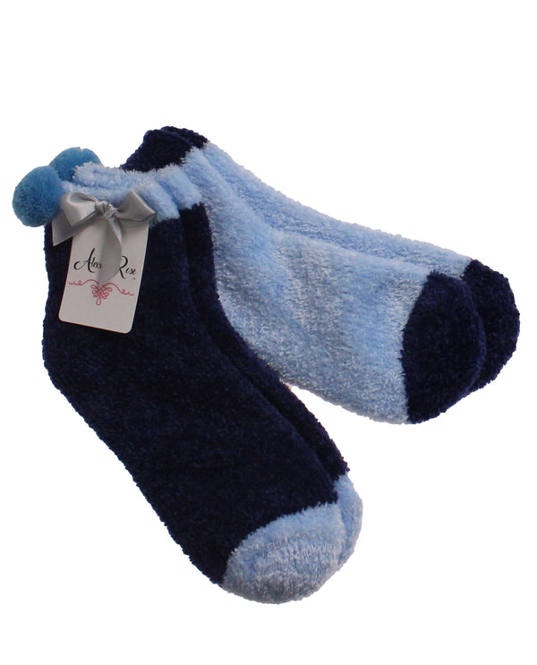 2 Piece Set Cozy Sock with Pom Blue