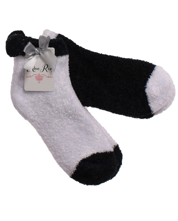2 Piece Set Cozy Sock with Pom BLACK & WHITE
