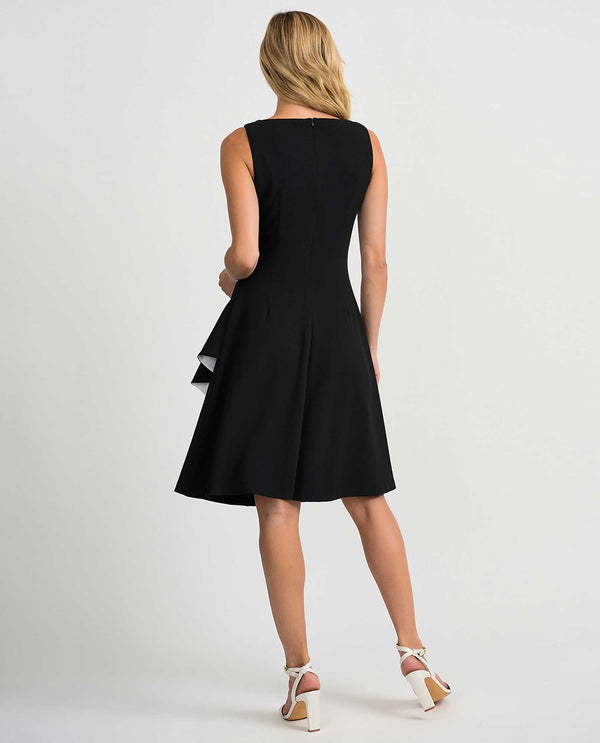 Joseph Ribkoff 201319 Black Sleeveless Dress with Ruffles