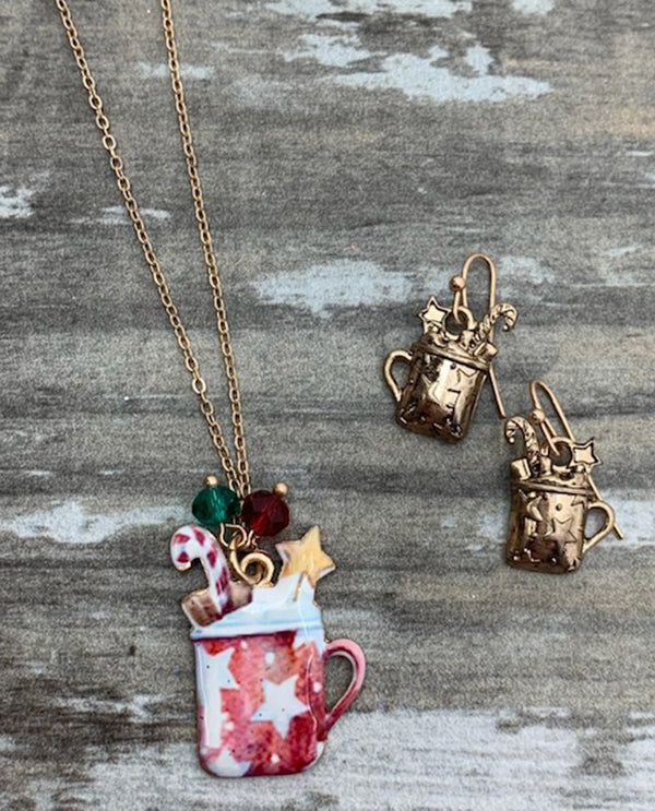 Red Coffee Cup Necklace with matching gold earrings Retro Christmas Necklace Set