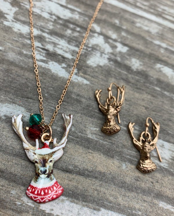 Retro Christmas Necklace Set Deer