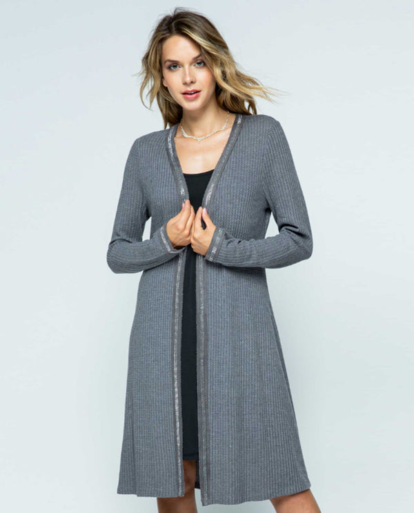 Vocal IM1453LC Open Cardigan with Stone Edge Charcoal