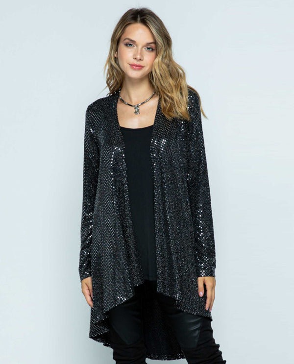 Vocal IM1504LC Sparkle Long Sleeve Cardigan Black
