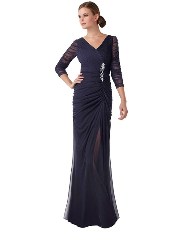 Adrianna Papell 08159401 Womens Drape Gown navy plus size gown with silver brooch