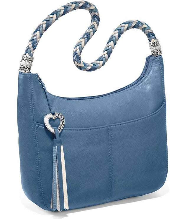 Brighton style H204BB Barbados Ziptop Hobo in Canyon Blue features a woven leather strap and a tassel zipper for added style.